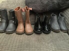 4 pairs of girl boots, infant size 4