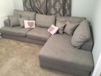 Next Stratus L Shaped Sofa - Light Grey in Belgian Soft Twill