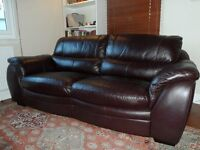 Leather 3 seater sofa and chair