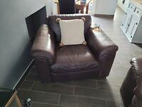 Italian leather sofa, three seater and armchair