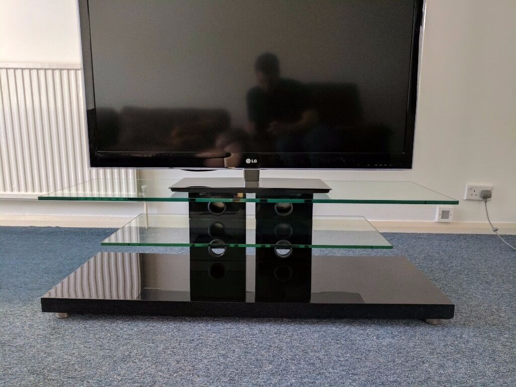 quality tv stand with two floating glass shelves  high end design  - quality tv stand with two floating glass shelves  high end design