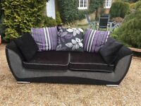 DFS Black 3 Seater Sofa with Chrome Feet