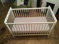 John Lewis White Wooden Cot Bed with Mattress