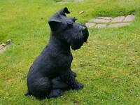 schnauzer dog in cast stone