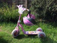 Girls Princess Scooter, Helmet & Elbow/Knee Pads