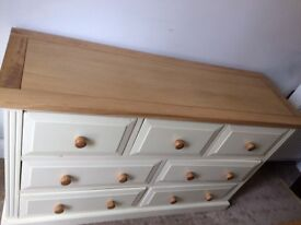 Off-White/Cream with Walnut Top - Chest of 7 Drawers- Sturdy- £65
