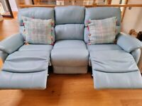 Two electric reclining sofas and one reclining armchair