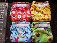 4 x Real Easy, size 2, reusable cloth nappies