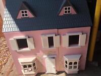 wooden dolls house & furniture set