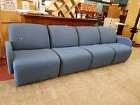 Blue fabric reception seating (4 seat)