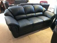 LITTLEWOODS VERY BLACK REAL LEATHER 3 SEATER SOFA THREE COUCH SETTEE NEW FREE DELIVERY