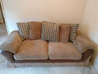 2 x Harveys Lullabye 3 seater scatterback sofas in mink corduroy Like New