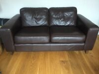 Dark brown 2 seater leather sofa and armchair in good condition
