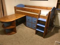 Stompa cabin bed with pull out desk set of 4 drawers and book shelf