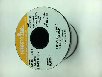 Indium Wire Solder .032 In. Sn63 Pb37 Cw-807 1 Lb. Spool