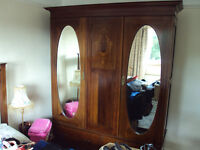Edwardian Inlaid Wardrobe with shelf section and 2 drawers below