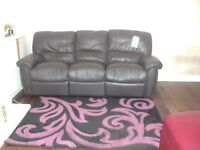 Brown 3 Seater Leather with 2 Recliner either side. £199