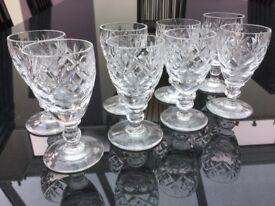 8 cut glass liquor glasses