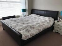 Super king faux leather sleigh bed frame