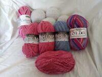 Variety of knitting/crochet yarn 4ply & double knitting