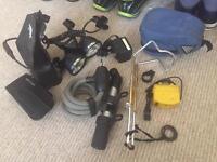 Bike accessories incl halogen lights, cable lock, pump, saddle bag