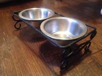 Metal steel double cat dog bowl food water pet bowl