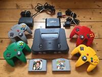 Nintendo 64 (N64) Console, Goldeneye, Mario Kart and 4 Controllers