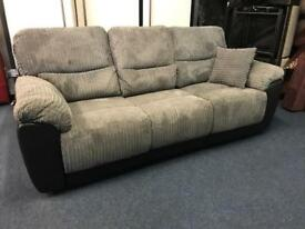 Littlewoods Sienna grey cord fabric and black leather recliner 3 seater sofa manual three couch