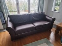 Lovely M&S Abbey Brown Leather Sofas