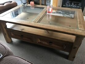 Corona / Mexican Pine glass top coffee table