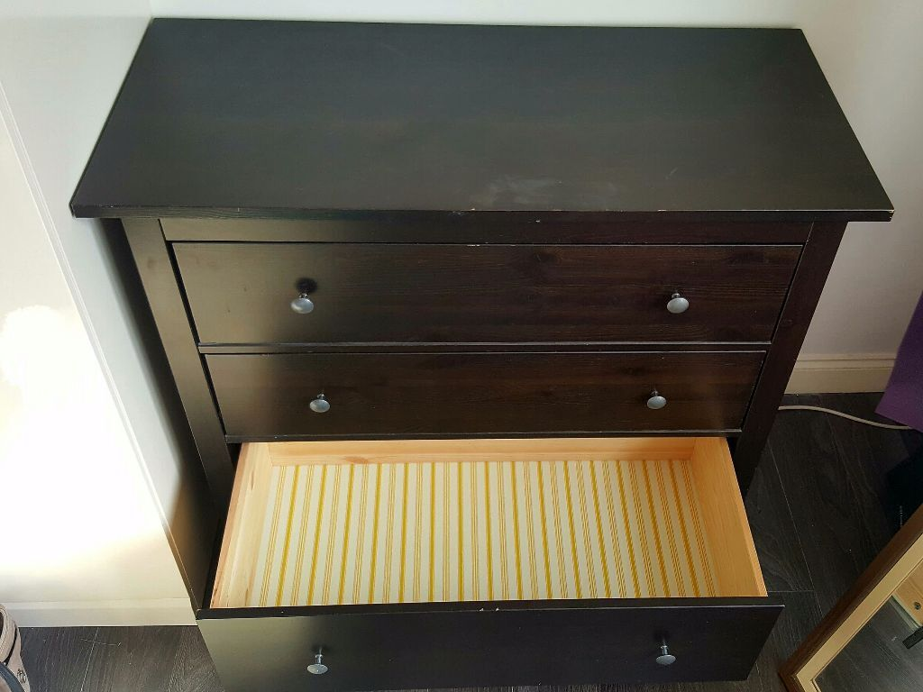 Ikea HEMNES Chest Of 3 Drawers Black Brown