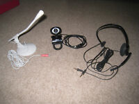 Webcam, Headset and Microphone