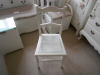 VINTAGE RETRO BEDROOM / BATHROOM CHAIR PAINTED COUNTRY WHITE