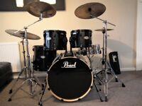 Pearl Vision Birch drum kit - All Black Ltd , Hardware and Cymbals , Zildjian K , RRP £985.00