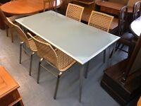 VERY NICE IKEA FROSTED GLASS TABLE WITH FOUR CHAIRS
