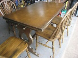 Dining table and six chairs. Reproduction.