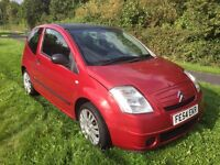 CITROEN C2 1.1LX 3 DOOR 54 REG IN FIRE RED WITH GREY TRIM SERVICE HISTORY AND MOT JULY 2017