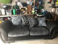 3 seater sofa black & grey fabric & leather