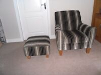 Stripe chair with matching stool