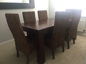 Dark Mango solid wood dining table and 6 chairs