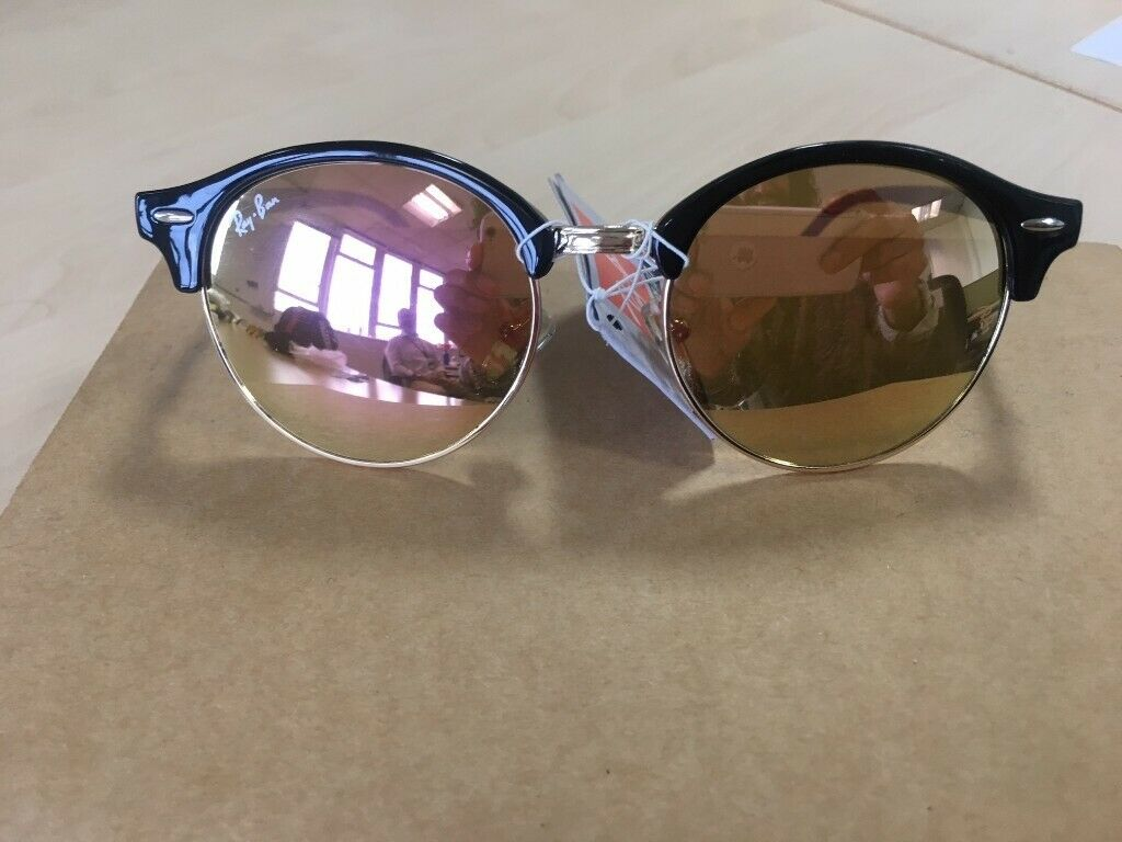 4dd9cb98b38261 RAY-BAN Clubround sunglasses black gold mirror lens pearl   RB 4246  clubmaster round