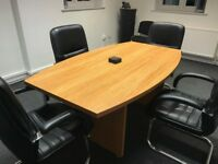 Regent Office Furniture Bow Fronted Desk Cupboard Desk Draws & Board Room Table