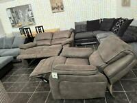 Ex display Harvey's 2 seater recliner sofa with recliner armchair