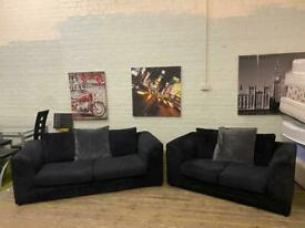 HARVEYS BLACK FABRIC CORD SOFA SET IN EXCELLENT CONDITION 3+2 seater