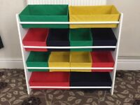 CHILDRENS TOY STORAGE WITH 12 DRAWS - WOODEN FRAME