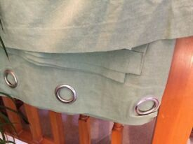 Green Eyelet curtains 100% cotton