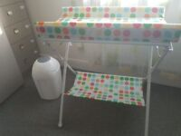 Changing table and Tommee Tippee nappy bin