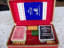 Poker dice, playing card and gambling chips box gift set with bridge scoring cards