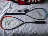 2 squash rackets, balls and holdall