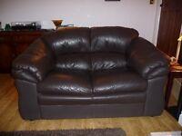 Leather 2 Seat Sofa Dark Brown .